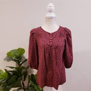 Marc by Marc Jacobs Burgundy Tulip Silk Blouse